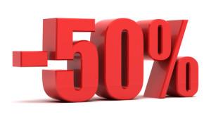 50 percent discount 3d text