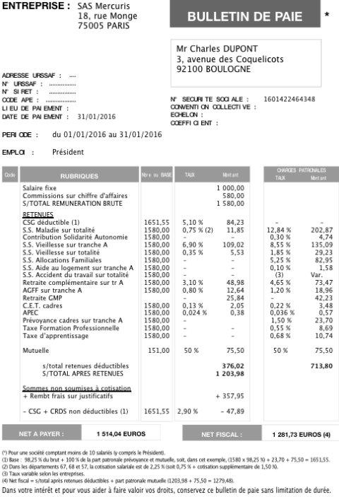 Beliebt Modèles de fiches de paye 2016 pour un Président de SAS ou de SASU  DV67